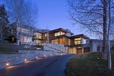 façade garage - maison bois et pierre contemporaine - Sun Valley, Usa