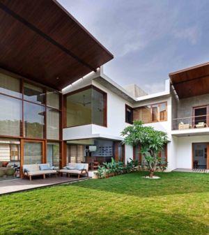 façade jardin - L-Plan-House Klosla Associates - Bangalore, Inde
