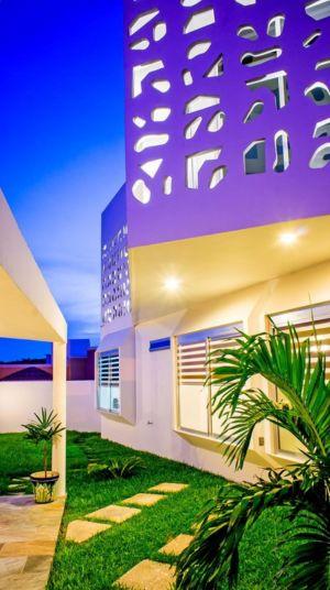 façade jardin de nuit - Nest house par Gerardo Ars Arquitectura - Alvarado, Mexique