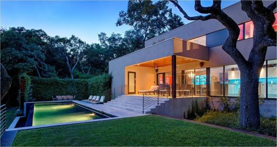 façade jardin & piscine - Hills-Residence par Specht Harpman - Texas, USA