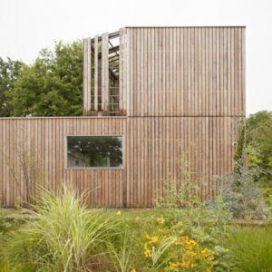façade jardin - vlb-maison-bbc par Detroit Architectes - Verrières-le-Buisson, France