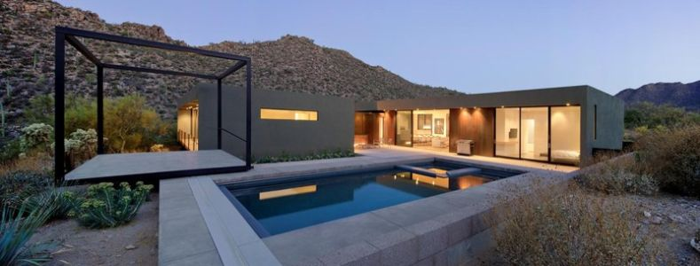 façade piscine - Levin Residence par Ibarra Rosano Design Architects - Marana, Usa