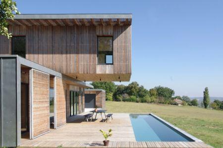 façade piscine - Maison l'Estelle par François Primault architecte - Moirax, France