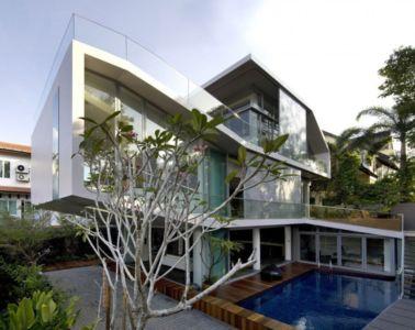 façade piscine - OOI House par Czarl Architects - Singapour