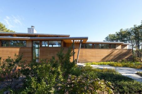 façade porche entrée - Long Dune Residence par Hammer Architects - Truro, Usa