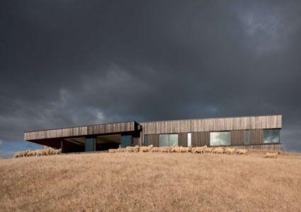 façade pricipale de la ferme et ses moutons - Modern farmhouse par Pattersons - Muriwai, Nouvelle-Zélande