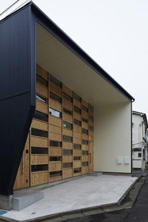 façade entrée - checkered-house par Takeshi Shikauchi - Tokyo, Japon