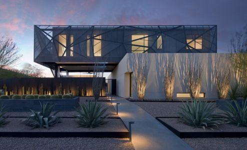 façade rue de nuit - Tresarca House par assemblageSTUDIO - Las Vegas, Nevada, Usa