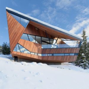 façade sculpturale - Hadaway house par Patkau architects - Whistler valley, Canada