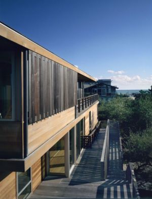 façade terrasse - Fire-Island-House par John Butterworth - New-York, USA