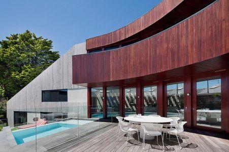 façade terrasse - Maison contemporaine bois béton par BG Architecture - Melbourne, Australie
