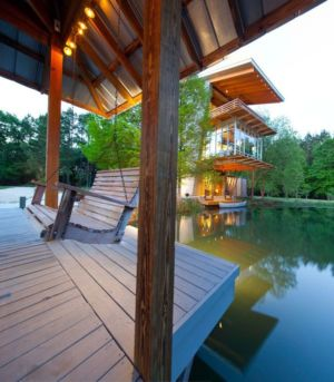façade terrasse - Pond-House par Holly-Smith-&-Architectes - Louisiane, USA