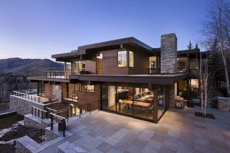 façade terrasse arrière - maison bois et pierre contemporaine - Sun Valley, Usa