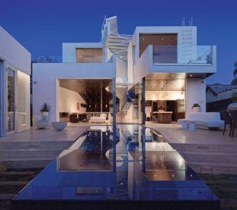 façade terrasse de nuit - Birch Residence par Griffin Enright Architects - Los Angeles, Usa