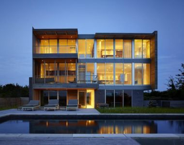 façade terrasse de nuit - Cove Residence by Stelle Lomont Rouhani Architects