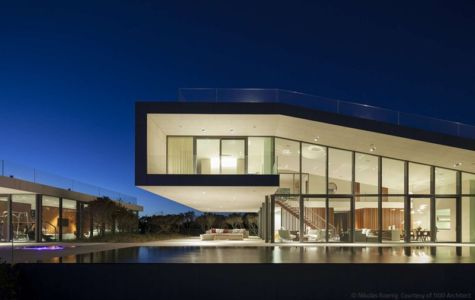 façade terrasse de nuit - Long Island House par 1100 Architect - NY, Usa