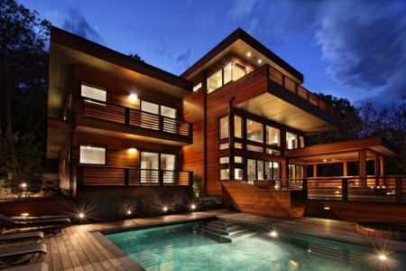 façade terrasse de nuit - RiverBanks par Foz Design - Saugerties, Usa