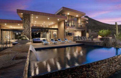 façade terrasse de nuit - Sefcovic Residence par Tate Studio Architects - Usa