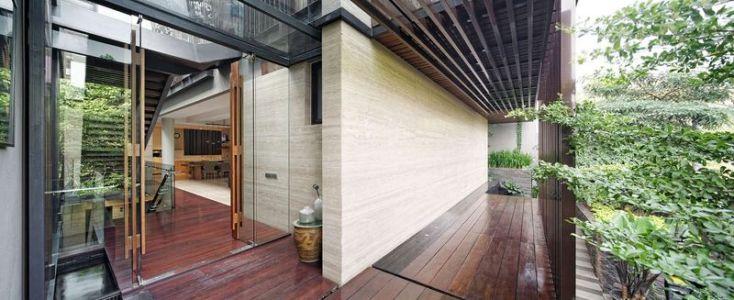façade terrasse entrée - Ben House-GP par Wahana Architects - Jakarta, Indonésie