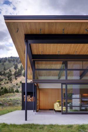 façade vitrée - River Bank house par Balance Associates Architects - Big Sky, Montana, Usa