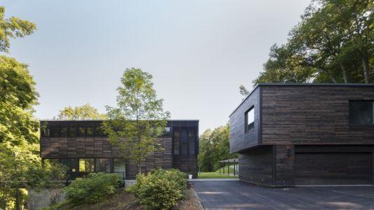 garage et façade entrée - Red Rock House par Anmahian Winton Architects - Red Rock, Usa