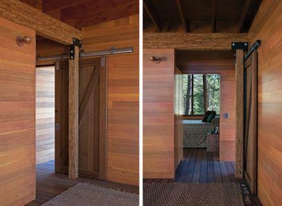 gauche-couloir accès chambre & droite-entrée chambre - Cabin-Flathead-Lake par Anderson Wise Architects - Montana, USA