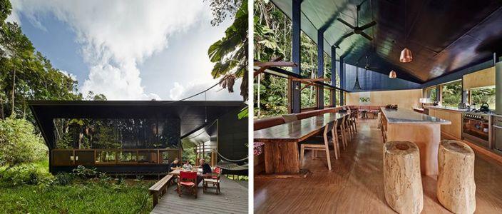 gauche.vue d'ensemble - droite.pièce de vie - house-tropical par m3architecture - Queensland - Australie