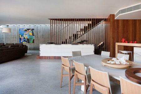 grande pièce de vie - Maison contemporaine bois béton par BG Architecture - Melbourne, Australie