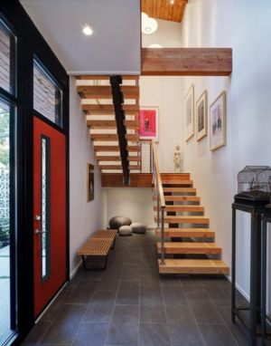 hall entrée et escalier - Midvale Courtyard House par Bruns Architecture - Madison, Usa