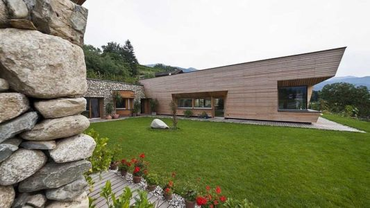 jardin extérieur - Brunner House par Norbert Dalsass - Italie