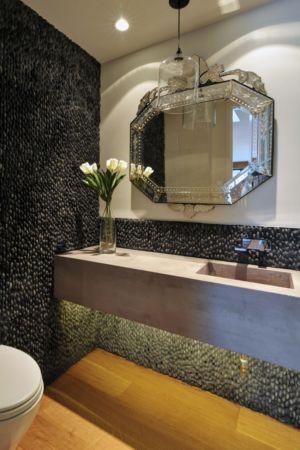 lavabo et miroir salle de bains - Underwood House par StudioMET - Houston, Usa