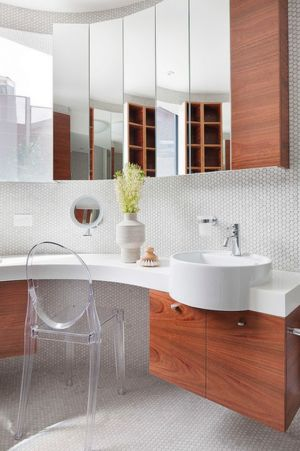 lavabo et mobilier salle de bains - Maison contemporaine bois béton par BG Architecture - Melbourne, Australie