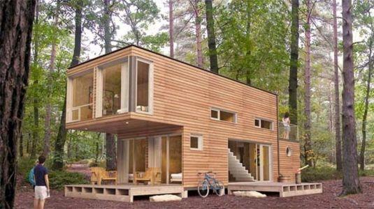 maison container avec bardage bois