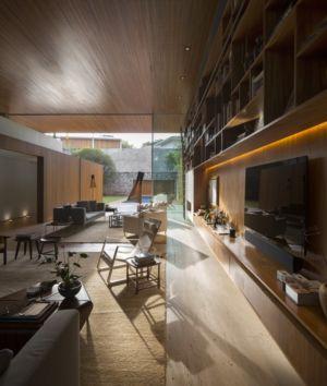 mobilier pièce de vie - Tetris House par Studio mk27 - São Paulo, Brésil