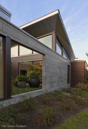 mur ouvert sur jardin - Illinois residence par Dirk Denison architects - Usa