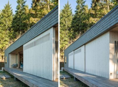 panneau bois entrée coulissante - Woodsy-Retreat par Heliotrope Architects - Washington, USA