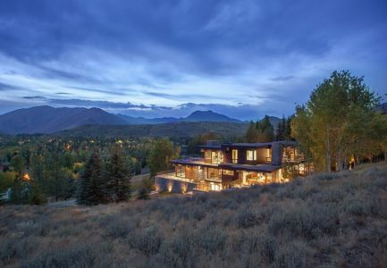 panorama - maison bois et pierre contemporaine - Sun Valley, Usa