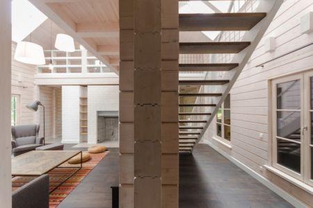 paroi en madrier - Ranch par Aketuri Architekai - Lituanie