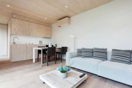 salon, séjour, cuisine - Zero-Energy par Skilpod - Belgique