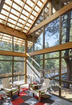 salon et sa grande baie vitrée - Foster Loop par Balance Associates - Mazama,USA