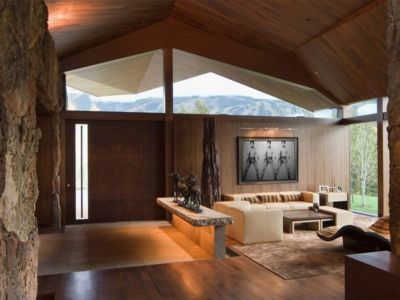 petit salon - Wildcat Ridge residence par Voorsanger Architects - Aspen, Usa
