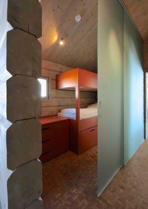 petite chambre et porte vitrée coulissante - Cozy-Wooden-Cottage par JVA - Oppdal, Norvège