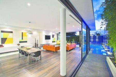 pièce de vie - Bayside townhouses par Martin Friedrich architects - Melbourne, Australie