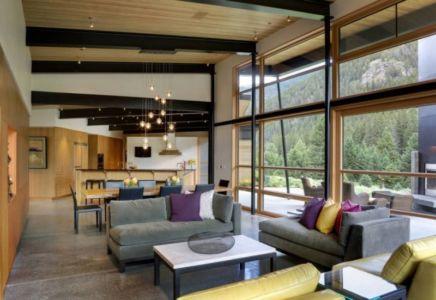 pièce de vie - River Bank house par Balance Associates Architects - Big Sky, Montana, Usa