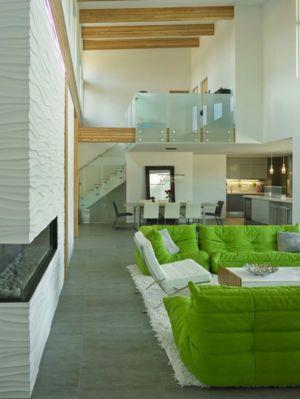 pièce de vie & escalier acces etage - Lindal Home par Turkel Conception & Lindal Cedar Homes, canada