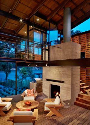 pièce de vie et cheminée - The Hog Pen Creek Residence par LakeFlato - Austin, Usa