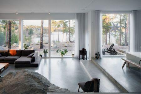 pièce de vie - maison bois contemporaine par Gabriel Minguez - Ingarö, Suède