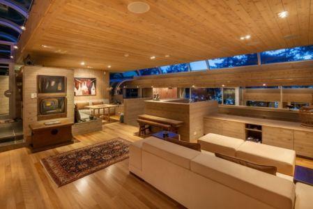 pièce de vie - villa contemporaine en bois par Daniel Evan White - Saanich, Canada