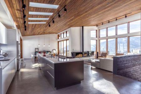 pièce de vie - wood-clad-home par ParkCity Design - Utah, USA