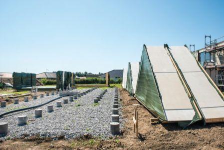 piliers fondation - La Casa de Libre Mantenimiento par Arkitema Architects  - Danemark